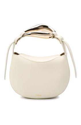 Женская сумка kiss CHLOÉ белого цвета, арт. CHC21US350E48   Фото 1 (Материал: Натуральная кожа; Сумки-технические: Сумки top-handle, Сумки через плечо; Ремень/цепочка: На ремешке; Размер: mini)