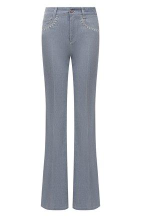 Женские джинсы CHLOÉ синего цвета, арт. CHC21ADP82151   Фото 1 (Материал внешний: Хлопок; Длина (брюки, джинсы): Удлиненные; Кросс-КТ: Деним; Детали: Потертости; Силуэт Ж (брюки и джинсы): Расклешенные; Стили: Кэжуэл)