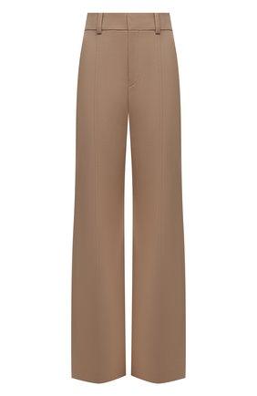 Женские шерстяные брюки CHLOÉ бежевого цвета, арт. CHC21APA04066   Фото 1 (Материал внешний: Шерсть; Материал подклада: Хлопок; Длина (брюки, джинсы): Удлиненные; Женское Кросс-КТ: Брюки-одежда; Стили: Кэжуэл; Силуэт Ж (брюки и джинсы): Расклешенные)