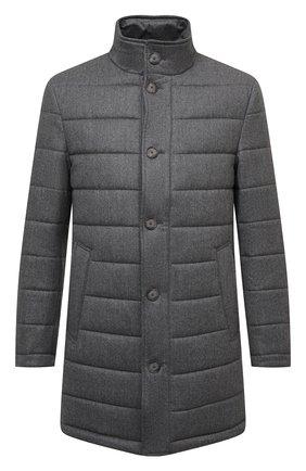 Мужская шерстяное утепленное пальто BOSS серого цвета, арт. 50460081 | Фото 1 (Материал внешний: Шерсть; Длина (верхняя одежда): До середины бедра; Рукава: Длинные; Кросс-КТ: Куртка; Мужское Кросс-КТ: пуховик-короткий; Стили: Кэжуэл)