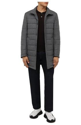 Мужская шерстяное утепленное пальто BOSS серого цвета, арт. 50460081 | Фото 2 (Материал внешний: Шерсть; Длина (верхняя одежда): До середины бедра; Рукава: Длинные; Кросс-КТ: Куртка; Мужское Кросс-КТ: пуховик-короткий; Стили: Кэжуэл)