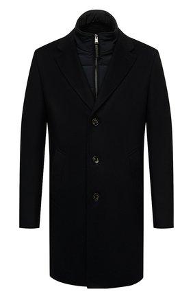 Мужской шерстяное пальто BOSS черного цвета, арт. 50463053 | Фото 1 (Материал внешний: Шерсть; Мужское Кросс-КТ: пальто-верхняя одежда; Длина (верхняя одежда): До середины бедра; Стили: Классический; Рукава: Длинные)