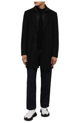 Мужской шерстяное пальто BOSS черного цвета, арт. 50463053 | Фото 2 (Материал внешний: Шерсть; Мужское Кросс-КТ: пальто-верхняя одежда; Длина (верхняя одежда): До середины бедра; Стили: Классический; Рукава: Длинные)