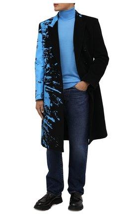 Мужской шерстяная водолазка BOSS голубого цвета, арт. 50392083 | Фото 2 (Материал внешний: Шерсть; Мужское Кросс-КТ: Водолазка-одежда; Принт: Без принта; Стили: Кэжуэл; Рукава: Длинные; Длина (для топов): Стандартные)