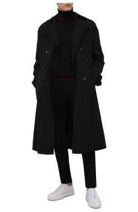 Мужской шерстяная водолазка HUGO черного цвета, арт. 50456015 | Фото 2 (Материал внешний: Шерсть; Длина (для топов): Стандартные; Рукава: Длинные; Мужское Кросс-КТ: Водолазка-одежда; Принт: Без принта; Стили: Кэжуэл)