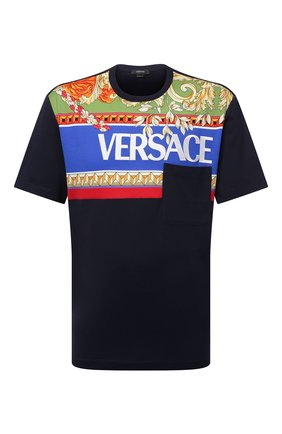 Мужская хлопковая футболка VERSACE темно-синего цвета, арт. 1001422/1A01053 | Фото 1 (Длина (для топов): Стандартные; Рукава: Короткие; Материал внешний: Хлопок; Принт: С принтом; Стили: Кэжуэл)