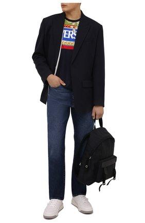 Мужская хлопковая футболка VERSACE темно-синего цвета, арт. 1001422/1A01053 | Фото 2 (Длина (для топов): Стандартные; Рукава: Короткие; Материал внешний: Хлопок; Принт: С принтом; Стили: Кэжуэл)