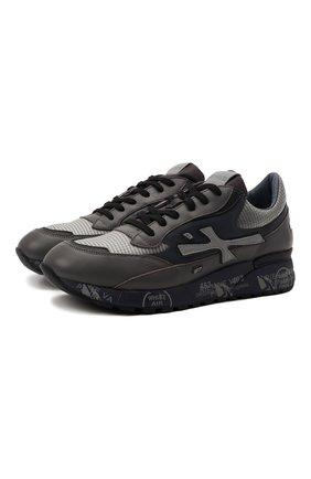 Мужские комбинированные кроссовки django PREMIATA темно-серого цвета, арт. DJANG0/VAR5505 | Фото 1 (Подошва: Массивная; Материал внешний: Текстиль; Материал внутренний: Натуральная кожа)