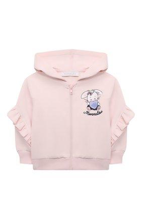 Детский хлопковая толстовка MONNALISA розового цвета, арт. 398806RM | Фото 1 (Рукава: Длинные; Материал внешний: Хлопок; Ростовка одежда: 12 мес | 80 см, 18 мес | 86 см, 24 мес | 92 см, 36 мес | 98 см)