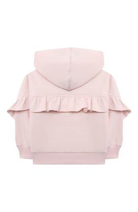 Детский хлопковая толстовка MONNALISA розового цвета, арт. 398806RM | Фото 2 (Рукава: Длинные; Материал внешний: Хлопок; Ростовка одежда: 12 мес | 80 см, 18 мес | 86 см, 24 мес | 92 см, 36 мес | 98 см)