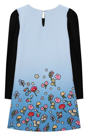 Детское платье MONNALISA голубого цвета, арт. 118924   Фото 2 (Материал внешний: Синтетический материал; Рукава: Длинные; Ростовка одежда: 10 - 11 лет   140 - 146см, 4 года   104 см, 5 лет   110 см, 6 лет   116 см, 7 лет   122 см, 8 лет   128 см)