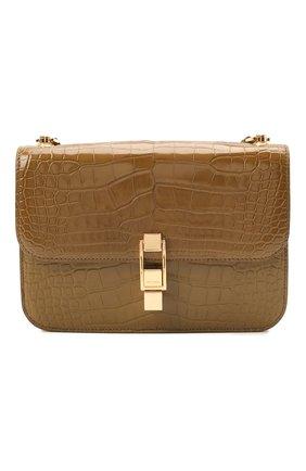 Женская сумка carre из кожи аллигатора SAINT LAURENT темно-бежевого цвета, арт. 633214/E5V0K/AMIS | Фото 1 (Размер: small; Сумки-технические: Сумки через плечо; Материал: Экзотическая кожа)