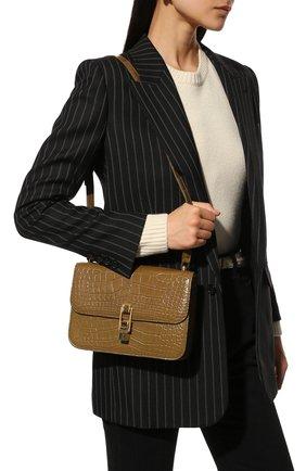 Женская сумка carre из кожи аллигатора SAINT LAURENT темно-бежевого цвета, арт. 633214/E5V0K/AMIS | Фото 2 (Размер: small; Сумки-технические: Сумки через плечо; Материал: Экзотическая кожа)