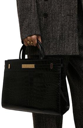 Женская сумка manhattan small SAINT LAURENT черного цвета, арт. 568702/E5V0K/AMIS | Фото 2 (Ремень/цепочка: На ремешке; Размер: small; Сумки-технические: Сумки top-handle)