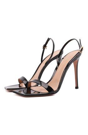 Женские кожаные босоножки stiletto 105 GIANVITO ROSSI черного цвета, арт. G32088.15RIC.VERNER0 | Фото 1 (Материал внутренний: Натуральная кожа; Каблук высота: Высокий; Подошва: Плоская; Каблук тип: Шпилька)