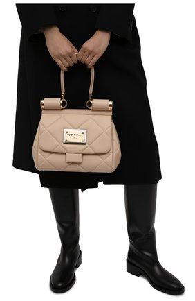 Женская сумка sicily medium DOLCE & GABBANA бежевого цвета, арт. BB7018/AW591   Фото 2 (Материал: Натуральная кожа; Размер: medium; Сумки-технические: Сумки top-handle; Ремень/цепочка: На ремешке)