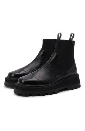 Женские кожаные ботинки clayton JIMMY CHOO черного цвета, арт. CLAYT0N FLAT/VIL | Фото 1 (Материал внутренний: Натуральная кожа; Каблук высота: Низкий; Подошва: Платформа; Женское Кросс-КТ: Челси-ботинки)