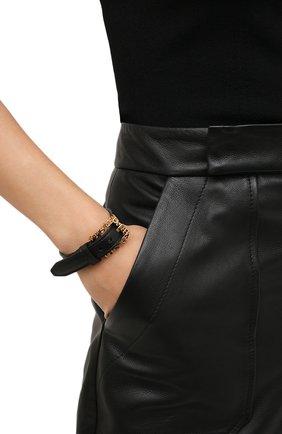 Женский кожаный браслет  VERSACE черного цвета, арт. 1002271/1A00637   Фото 2 (Материал: Металл)