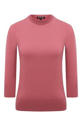 Женский кашемировый пуловер LORO PIANA розового цвета, арт. FAI4920 | Фото 1 (Материал внешний: Кашемир, Шерсть; Стили: Кэжуэл; Рукава: 3/4; Длина (для топов): Стандартные; Женское Кросс-КТ: Пуловер-одежда)