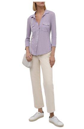 Женская хлопковая рубашка JAMES PERSE сиреневого цвета, арт. WUA3042   Фото 2 (Материал внешний: Хлопок; Стили: Кэжуэл; Принт: Без принта; Женское Кросс-КТ: Рубашка-одежда; Рукава: 3/4; Длина (для топов): Стандартные)