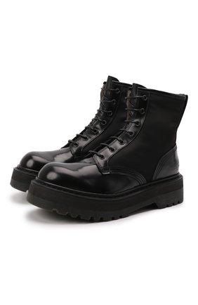 Женские кожаные ботинки PREMIATA черного цвета, арт. M4973/VARIANTE 19+M0NT0NE   Фото 1 (Каблук высота: Низкий; Подошва: Платформа; Материал утеплителя: Натуральный мех; Женское Кросс-КТ: Военные ботинки)