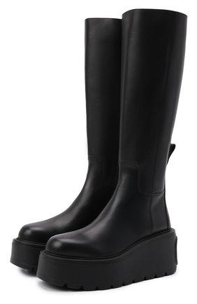 Женские кожаные сапоги uniqueform VALENTINO черного цвета, арт. WW2S0CC8/RBJ   Фото 1 (Материал внутренний: Натуральная кожа; Подошва: Платформа; Высота голенища: Средние; Каблук тип: Устойчивый; Каблук высота: Средний)