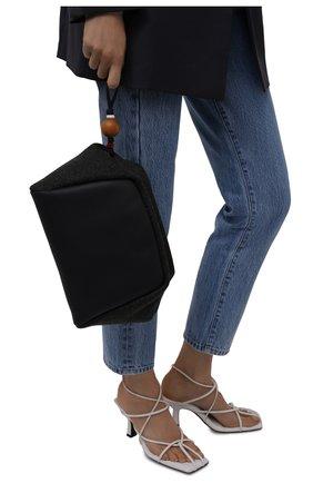 Женский клатч puffy LORO PIANA темно-серого цвета, арт. FAL8282 | Фото 2 (Ремень/цепочка: На ремешке; Материал: Текстиль, Натуральная кожа; Размер: small; Женское Кросс-КТ: Клатч-клатчи)