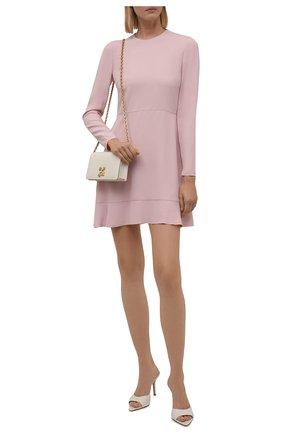 Женское платье REDVALENTINO светло-розового цвета, арт. WR0VACK5/0F1   Фото 2 (Рукава: Длинные; Материал внешний: Синтетический материал, Вискоза; Длина Ж (юбки, платья, шорты): Мини; Стили: Классический; Случай: Формальный; Женское Кросс-КТ: Платье-одежда, платье-футляр)