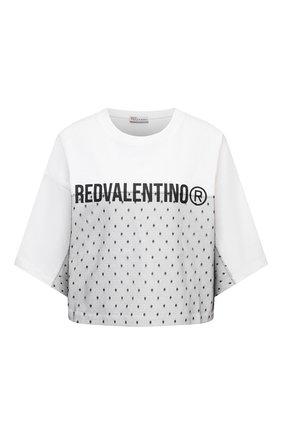 Женская хлопковая футболка REDVALENTINO белого цвета, арт. WR0MG12C/68D | Фото 1 (Рукава: Короткие; Материал внешний: Хлопок; Длина (для топов): Стандартные; Стили: Спорт-шик; Принт: С принтом; Женское Кросс-КТ: Футболка-одежда)