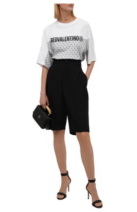 Женская хлопковая футболка REDVALENTINO белого цвета, арт. WR0MG12C/68D | Фото 2 (Рукава: Короткие; Материал внешний: Хлопок; Длина (для топов): Стандартные; Стили: Спорт-шик; Принт: С принтом; Женское Кросс-КТ: Футболка-одежда)