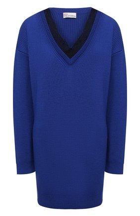 Женский шерстяной свитер REDVALENTINO синего цвета, арт. WR0KC09V/672 | Фото 1 (Рукава: Длинные; Длина (для топов): Удлиненные; Материал внешний: Шерсть; Стили: Кэжуэл; Женское Кросс-КТ: Свитер-одежда)