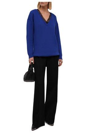 Женский шерстяной свитер REDVALENTINO синего цвета, арт. WR0KC09V/672 | Фото 2 (Рукава: Длинные; Длина (для топов): Удлиненные; Материал внешний: Шерсть; Стили: Кэжуэл; Женское Кросс-КТ: Свитер-одежда)