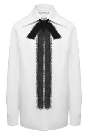Женская хлопковая блузка VALENTINO белого цвета, арт. WB0AB2X65A6 | Фото 1 (Материал внешний: Хлопок; Длина (для топов): Удлиненные; Рукава: Длинные; Стили: Классический; Принт: Без принта; Женское Кросс-КТ: Блуза-одежда)