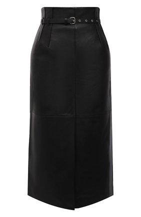 Женская кожана юбка REDVALENTINO черного цвета, арт. WR0NI01C/68Y   Фото 1 (Длина Ж (юбки, платья, шорты): Миди; Материал подклада: Синтетический материал; Стили: Гламурный; Женское Кросс-КТ: Юбка-одежда)