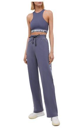 Женские брюки OFF-WHITE серого цвета, арт. 0WVI010F21JER001 | Фото 2 (Материал внешний: Синтетический материал, Вискоза; Длина (брюки, джинсы): Удлиненные; Стили: Спорт-шик; Женское Кросс-КТ: Брюки-одежда; Силуэт Ж (брюки и джинсы): Широкие)