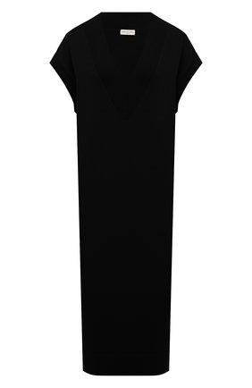 Женское шерстяное платье DRIES VAN NOTEN черного цвета, арт. 212-011212-3700 | Фото 1 (Рукава: Короткие; Материал внешний: Шерсть; Стили: Минимализм; Случай: Повседневный; Женское Кросс-КТ: Платье-одежда; Кросс-КТ: Трикотаж; Длина Ж (юбки, платья, шорты): До колена)