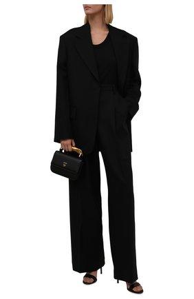 Женский шерстяной жакет DRIES VAN NOTEN черного цвета, арт. 212-010408-3041 | Фото 2 (Длина (для топов): Удлиненные; Рукава: Длинные; Материал подклада: Вискоза; Материал внешний: Шерсть; Стили: Минимализм; Случай: Повседневный; 1-2-бортные: Однобортные)