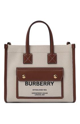 Женский сумка-тоут new BURBERRY светло-коричневого цвета, арт. 8044143 | Фото 1 (Размер: small; Ремень/цепочка: На ремешке; Материал: Текстиль; Сумки-технические: Сумки-шопперы)