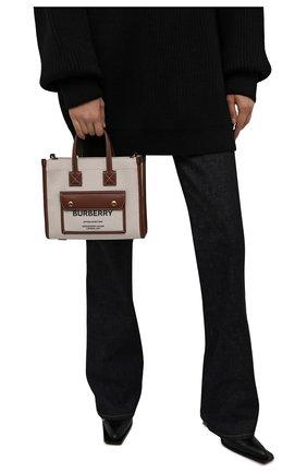 Женский сумка-тоут new BURBERRY светло-коричневого цвета, арт. 8044143 | Фото 2 (Размер: small; Ремень/цепочка: На ремешке; Материал: Текстиль; Сумки-технические: Сумки-шопперы)