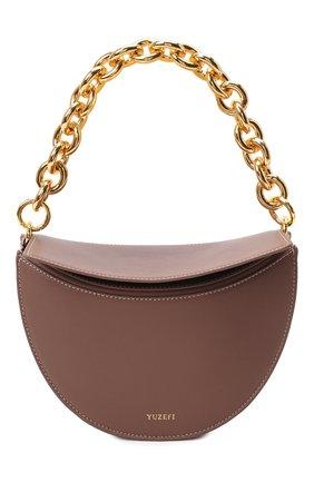 Женская сумка doris YUZEFI коричневого цвета, арт. YUZAW21-HB-D0-14 | Фото 1 (Материал: Натуральная кожа; Размер: mini; Сумки-технические: Сумки top-handle)