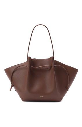 Женский сумка-шопер mochi large YUZEFI коричневого цвета, арт. YUZAW21-HB-LM-14 | Фото 1 (Ошибки технического описания: Нет ширины; Материал: Натуральная кожа; Размер: large; Сумки-технические: Сумки-шопперы)