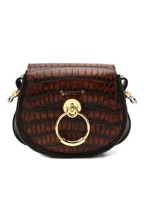 Женская сумка tess small CHLOÉ темно-коричневого цвета, арт. CHC21AS153E97 | Фото 1 (Материал: Натуральная кожа; Размер: small; Ремень/цепочка: На ремешке; Сумки-технические: Сумки через плечо)