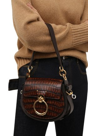 Женская сумка tess small CHLOÉ темно-коричневого цвета, арт. CHC21AS153E97 | Фото 2 (Материал: Натуральная кожа; Размер: small; Ремень/цепочка: На ремешке; Сумки-технические: Сумки через плечо)
