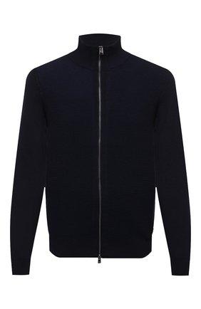 Мужской шерстяной кардиган BOSS темно-синего цвета, арт. 50435350 | Фото 1 (Материал внешний: Шерсть; Мужское Кросс-КТ: Кардиган-одежда; Стили: Кэжуэл; Длина (для топов): Стандартные; Рукава: Длинные)
