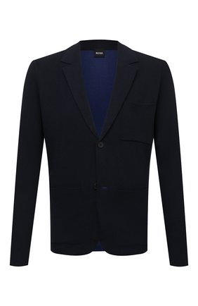 Мужской пиджак из хлопка и шерсти BOSS темно-синего цвета, арт. 50457702 | Фото 1 (Длина (для топов): Стандартные; Рукава: Длинные; Материал внешний: Шерсть, Хлопок; 1-2-бортные: Однобортные; Пиджаки М: Приталенный; Случай: Повседневный; Стили: Кэжуэл)