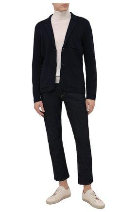 Мужской пиджак из хлопка и шерсти BOSS темно-синего цвета, арт. 50457702 | Фото 2 (Длина (для топов): Стандартные; Рукава: Длинные; Материал внешний: Шерсть, Хлопок; 1-2-бортные: Однобортные; Пиджаки М: Приталенный; Случай: Повседневный; Стили: Кэжуэл)