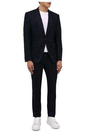 Мужской шерстяной костюм BOSS темно-синего цвета, арт. 50458928 | Фото 1 (Материал внешний: Шерсть; Костюмы М: Однобортный; Стили: Классический; Рукава: Длинные)