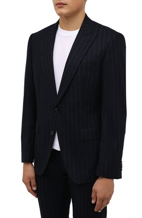 Мужской шерстяной костюм BOSS темно-синего цвета, арт. 50458928 | Фото 2 (Материал внешний: Шерсть; Костюмы М: Однобортный; Стили: Классический; Рукава: Длинные)