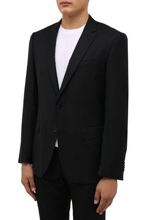 Мужской шерстяной костюм BOSS черного цвета, арт. 50458878 | Фото 2 (Материал внешний: Шерсть; Рукава: Длинные; Костюмы М: Однобортный; Стили: Классический)
