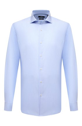 Мужская хлопковая сорочка BOSS голубого цвета, арт. 50459707 | Фото 1 (Рукава: Длинные; Материал внешний: Хлопок; Длина (для топов): Стандартные; Случай: Формальный; Принт: Однотонные; Манжеты: Под запонки; Рубашки М: Slim Fit; Стили: Классический; Воротник: Акула)